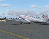 Screenshot of Qantas Empire Airways DC-3 on the ground.