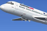 Screenshot of Qantaslink McDonnell Douglas DC-9-20 in the air.