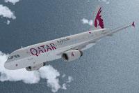 Screenshot of Qatar Airways Airbus A320 in flight.
