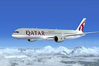 Screenshot of Qatar Airways Airbus A350-900 in flight.