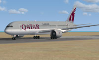 Screenshot of Qatar Airways Boeing 787-8 on runway.