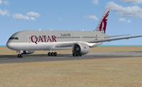 Screenshot of Qatar Airways Boeing 787-8 on runway.