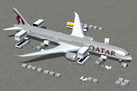 Screenshot of Qatar Boeing 787-10 and ground services.