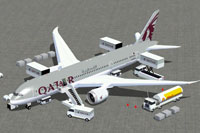 Screenshot of Qatar Boeing 787-8 and ground services.