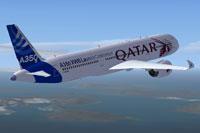 Screenshot of Qatar Airbus A350-900 in flight.
