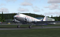 Screenshot of Queensland Airlines Douglas DC-3 on the ground.