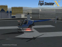 Splash Screen showing R-22 Helicopter at helipad.