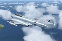 Screenshot of RAAF Gloster Meteor T7 in flight.