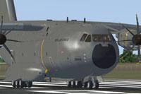 Screenshot of Airbus Cargo A400M on runway.