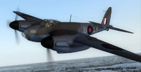 Screenshot of RAF DeHavilland Mosquito 1PRU in flight.