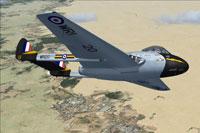 Screenshot of RAF DeHavilland Vampire FB9 WR120 in flight.