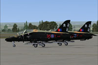 Screenshot of RAF Hawk jets on the ground.