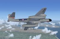 Screenshot of RAF Meteor NF11 WD642 in flight.