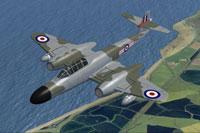 Screenshot of RAF Meteor NF11 WM145 in flight.