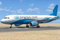 Screenshot of RAK Airways Airbus A320-214 on runway.