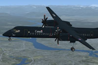 Screenshot of RCAF Dash 8 Q400 in flight.