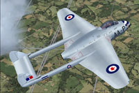 Screenshot of RCAF DeHavilland Vampire F3 400 Sqn in flight.