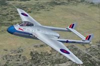 Screenshot of RCAF DeHavilland Vampire in flight.