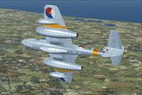 Screenshot of RNLNAS Gloster Meteor T7 in flight.