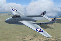 Screenshot of RNZAF De Havilland Vampire FB5 in flight.