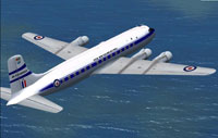 Screenshot of RNZAF Douglas DC-6 in flight.