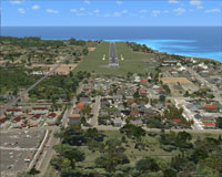 Aerial view of Rarotonga International Airport scenery, including runway.