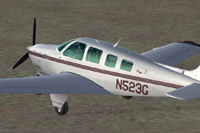 Screenshot of Raytheon A36 Bonanza N523G on the ground.