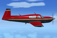 Screenshot of red and black Mooney Bravo in flight.