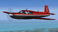 Screenshot of red and black Mooney Acclaim in flight.