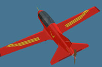 Screenshot of a red and gold BD-5.