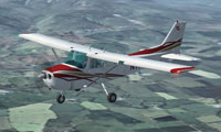 Screenshot of white, red and gold Cessna 172 in flight.
