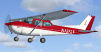 Screenshot of red and white Cessna 172 in flight.