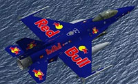 Screenshot of Red Bull F-16 in flight.