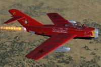 Screenshot of Red Bull MiG 15 in flight.