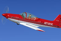 Screenshot of a red and white Falco F8L in flight.