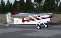 Screenshot of Cessna 185 on runway.