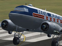 Close up of Reeve Aleutian Douglas DC-3 on runway.