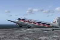 Screenshot of Reeve Aleutian Douglas DC3 in flight.