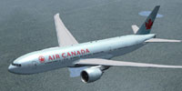 Screenshot of Retro Air Canada Boeing 777-200LR in flight.