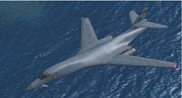 Screenshot of Rockwell B-1B Lancer in flight.
