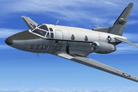 Screenshot of US Air Force Sabreliner in flight.