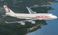 Screenshot of Royal Air Maroc Boeing 747-428 in flight.