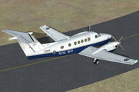 Screenshot of Royal Navy Beechcraft King Air B200 on runway.