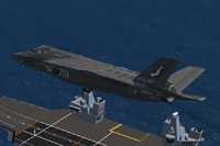 Screenshot of Royal Navy F-35B 899 NAS flying over carrier.
