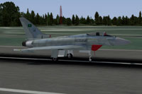 Screenshot of Royal Saudi Air Force Eurofighter Typhoon on runway.