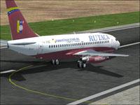 Screenshot of Rutaca Vinotinto Boeing 737-200 on runway.