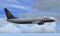 Ryanair Boeing 737-800 flying through clouds.