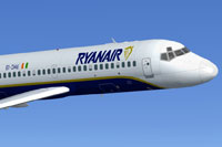Screenshot of Ryanair McDonnell Douglas DC-9-20 in flight.