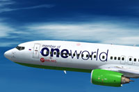 "Screenshot of Boeing 737-800 in ""Oneworld"" special livery."