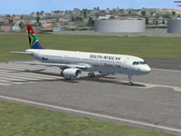 Screenshot of SAA Airbus A321 on runway.